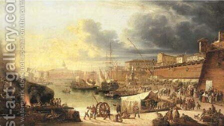 A capriccio of a walled harbour, thought to be Valletta, Malta by (after) Guiseppe Canella - Reproduction Oil Painting