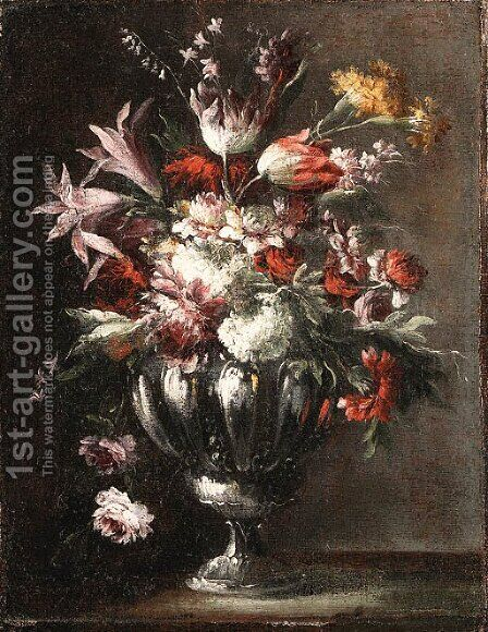 Flowers in a Vase by (after) Giuseppe Lavagna - Reproduction Oil Painting
