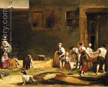 Peasants making silk carrying and spreading cocoons by (after) Giuseppe Maria Crespi - Reproduction Oil Painting