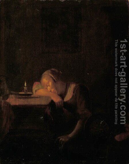 A young girl asleep in an interior by candlelight by (after) Godfried Schalcken - Reproduction Oil Painting