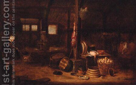 The interior of a cottage by (after) Govert Dircksz. Camphuysen - Reproduction Oil Painting