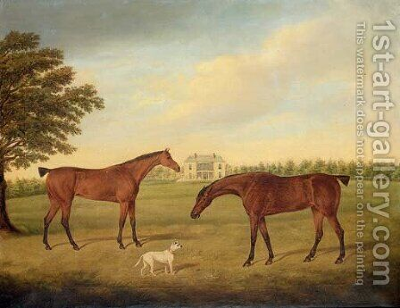Two hunters and a dog in the grounds of Boulston House, near Haverfordwest, Pembrokeshire by (after) Hayter Kinch - Reproduction Oil Painting
