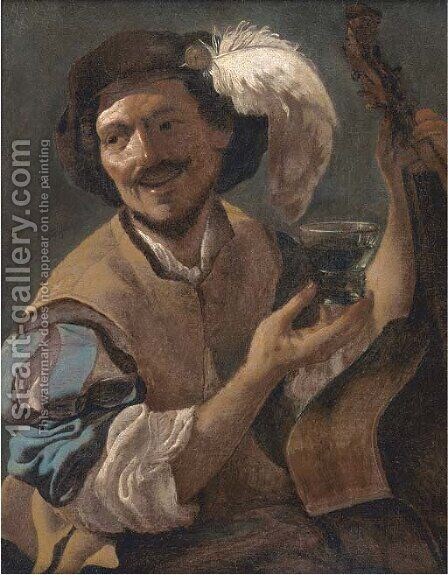 A laughing bravo with a bass viol and a roemer by (after) Hendrick Terbrugghen - Reproduction Oil Painting