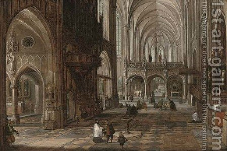 The interior of a gothic cathedral with figures by (after) Hendrick Van Steenwijck II - Reproduction Oil Painting