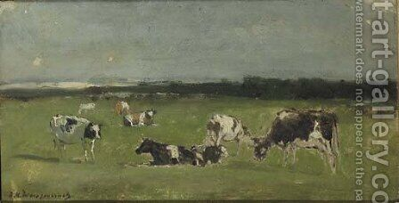 In de weide cows in a polder landscape - a study by (after) Johan Hendrik Weissenbruch - Reproduction Oil Painting