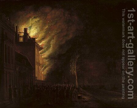 The 'Hof van Frankrijk', The Hague, on fire in the night of 26th March 1782 by (after) Hendrik Keun - Reproduction Oil Painting