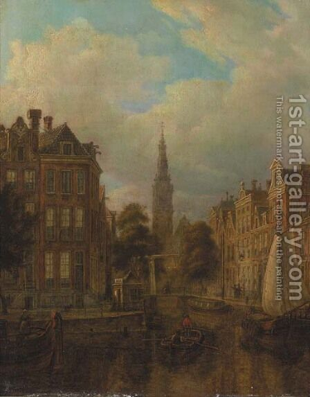 A view of a canal, Amsterdam with the Zuiderkerk towering by (after) Hendrik Van Oort - Reproduction Oil Painting