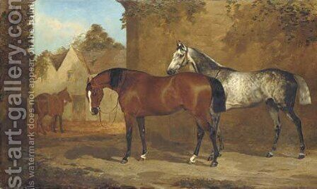 A bay and a grey hunter in a courtyard, with a groom leading another horse to a stable by (after) Henry Barraud - Reproduction Oil Painting