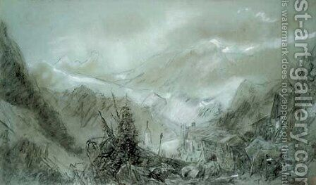 Study for of an Alpine view by (after) Henry Bright - Reproduction Oil Painting