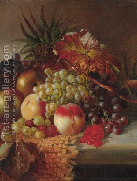 Grapes, peaches, apples, gooseberries, and pineapples on a wicker mat on a stone ledge by (after) Henry George Todd - Reproduction Oil Painting