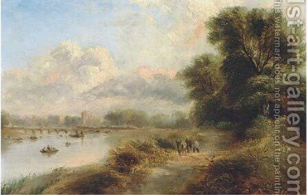 Figures and a donkey on a track by a river, with a bridge and town beyond by (after) Henry Jutsum - Reproduction Oil Painting