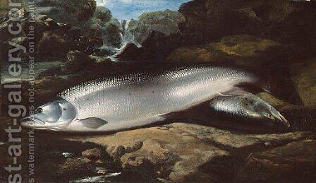 Salmon on a Rock by a River by (after) Henry Leonidas Rolfe - Reproduction Oil Painting