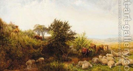 Sheep and cattle in a sunlit coastal landscape by (after) Henry William Banks Davis - Reproduction Oil Painting