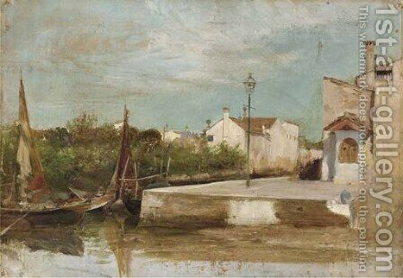 A Venetian backwater by (after) Henry Woods - Reproduction Oil Painting