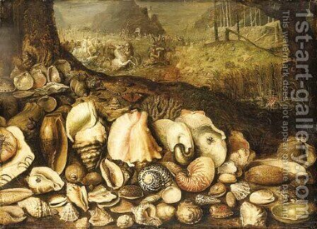 The Maritime Realm a still life of shells on a shore, the Triumph of Neptune beyond by (after) Hieronymus II Francken - Reproduction Oil Painting