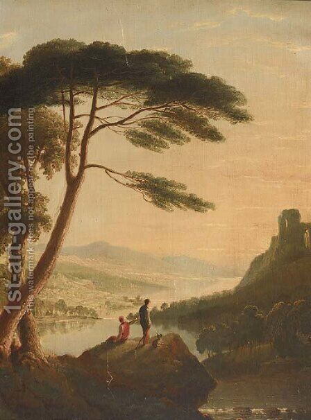 Boys on a rocky ledge at sunset by (after) Horatio Macculloch - Reproduction Oil Painting