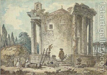 A capriccio with the Temple of the Sybil at Tivoli, Capuchin priests standing amongst the ruins by (after) Hubert Robert - Reproduction Oil Painting