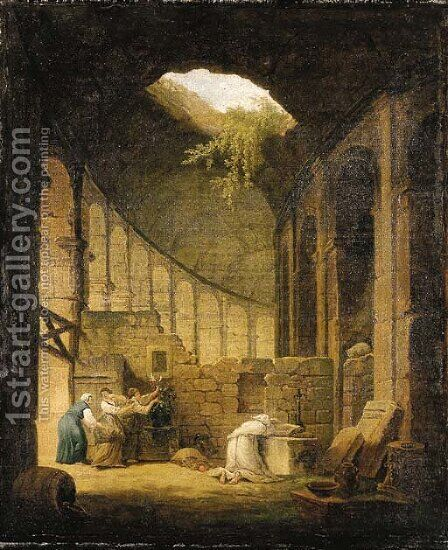 A hermit praying before an altar in a ruined chapel, with three woman offering flowers by (after) Hubert Robert - Reproduction Oil Painting
