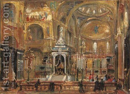A view of the choir of the Basilica of Saint Mark, Venice by (after) Ippolito Caffi - Reproduction Oil Painting