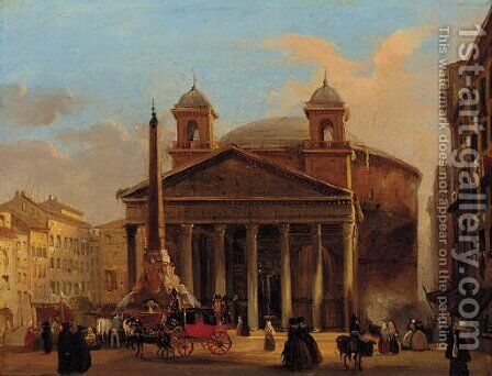 The Pantheon, Rome by (after) Ippolito Caffi - Reproduction Oil Painting