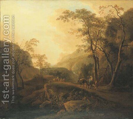 An Italianate landscape with travellers on a wooded mountain path by (after) Isaac De Moucheron - Reproduction Oil Painting