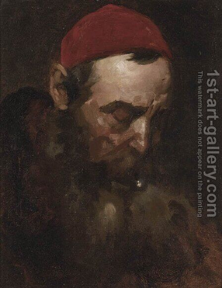Study of a bearded gentleman by (after) Isidor Kaufmann - Reproduction Oil Painting