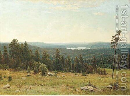 A lakeside forest by (after) Ivan Shishkin - Reproduction Oil Painting