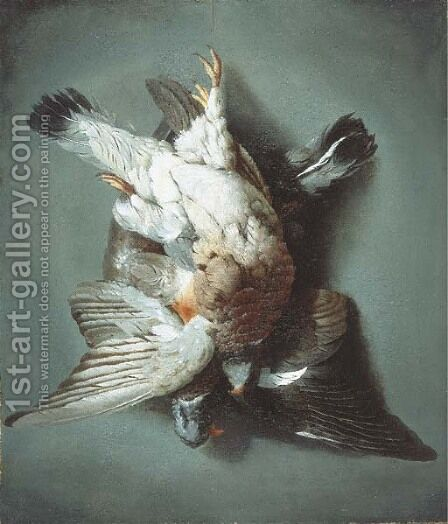 A brace of woodpigeon hanging from a string against a wall by (after) Jacob Biltius - Reproduction Oil Painting