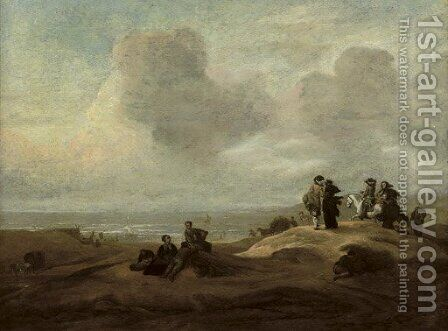 Elegant figures in a dune landscape with the ocean beyond by (after) Jacob Esselens - Reproduction Oil Painting