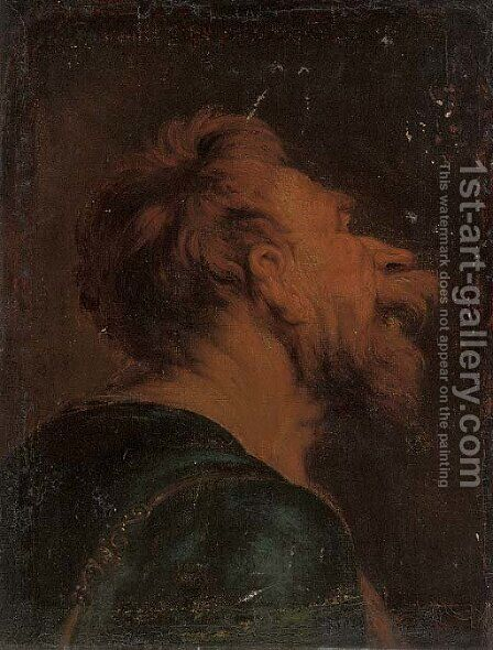 The head of a bearded man a study by (after) Jacob Jordaens - Reproduction Oil Painting