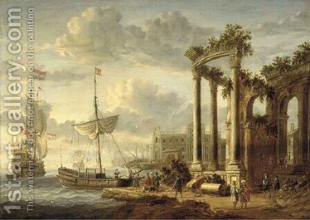 A Mediterranean harbour with a capriccio of classical ruins and a palace with a Dutch man-o'war and other shipping by (after) Jacobus Storck - Reproduction Oil Painting