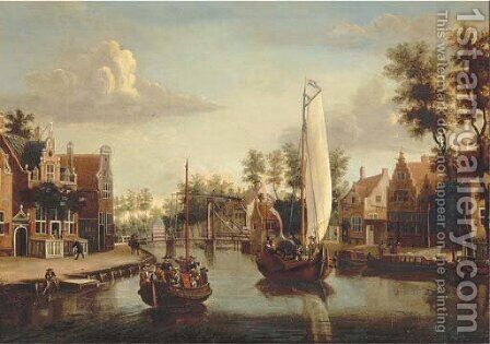 A view of Maarsen, with a ferry and a saling boat on the river Vecht by (after) Jacobus Storck - Reproduction Oil Painting