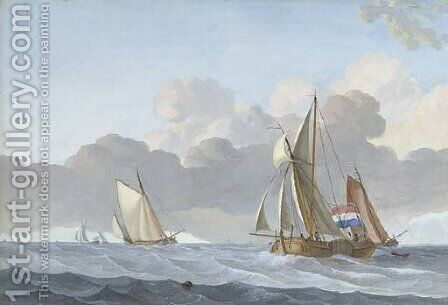 Sailing vessels in a stiff breeze, a village beyond by (after) Jacobus Xavery - Reproduction Oil Painting