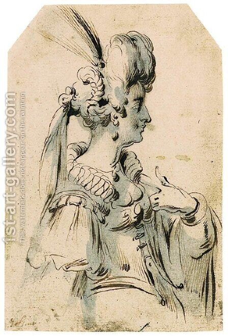 A Woman in Profile to the Right wearing a plumed Head-dress by (after) Jacques Bellange - Reproduction Oil Painting