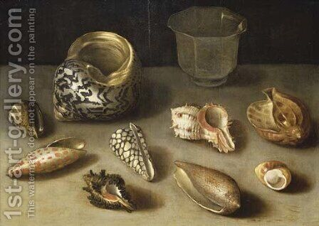 Exotic shells on a table with a glass beaker by (after) Jacques Linard - Reproduction Oil Painting