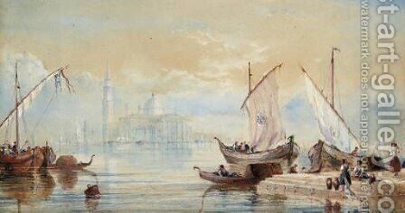 Venetian craft on the lagoon before San Giorgio Maggiore by (after) James Baker Pyne - Reproduction Oil Painting
