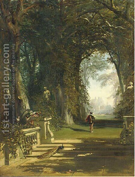 Cavaliers in a wooded avenue, a country house beyond by (after) James Digman Wingfield - Reproduction Oil Painting
