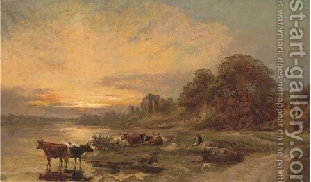 Cattle and a herder by a river, with ruins beyond by (after) Francis Danby - Reproduction Oil Painting