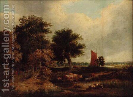 Cattle watering in a wooded landscape, with a wherry near Norwich by (after) James Stark - Reproduction Oil Painting