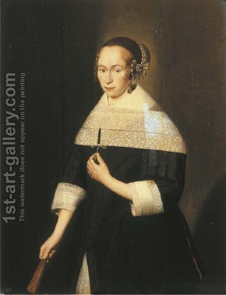 Portrait of a young lady by (after) Jan Albertsz. Rootius - Reproduction Oil Painting
