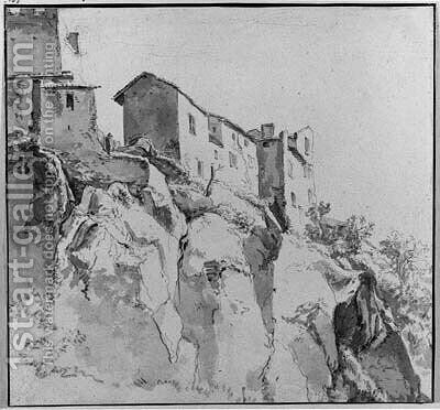 Italianate Houses on a Cliff by (after) Jan Asselyn - Reproduction Oil Painting