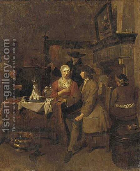 Figures drinking and dining in a tavern by (after) Jan Baptist Lambrechts - Reproduction Oil Painting