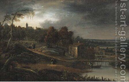 A river landscape with travellers near a town by (after) Jan Baptist Van Der Meiren - Reproduction Oil Painting