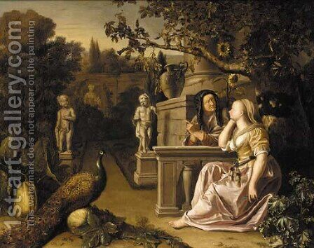 An ornamental garden with Vertumnus and Pomona by (after) Jan Blom - Reproduction Oil Painting