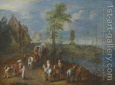 Travelers by the shore by (after) Jan The Elder Brueghel - Reproduction Oil Painting
