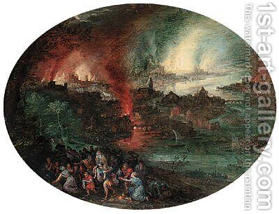 Aeneas rescuing Anchises from burning Troy by (after) Jan The Elder Brueghel - Reproduction Oil Painting