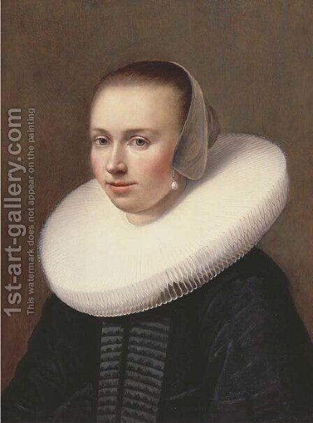 Portrait of a young lady by (after) Johannes Cornelisz. Verspronck - Reproduction Oil Painting