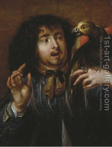 A man holding a parrot on his left hand by (after) Jan Cossiers - Reproduction Oil Painting