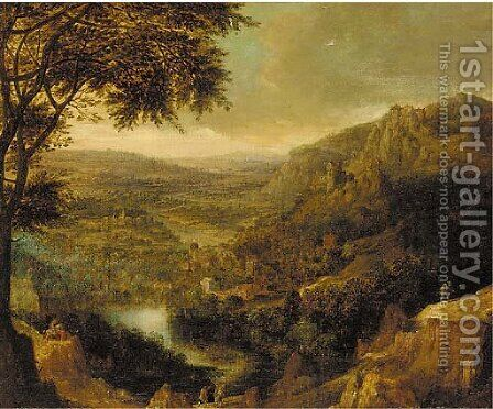 A Rhenish landscape with peasants on mountain tracks by (after) Jan Griffier I - Reproduction Oil Painting