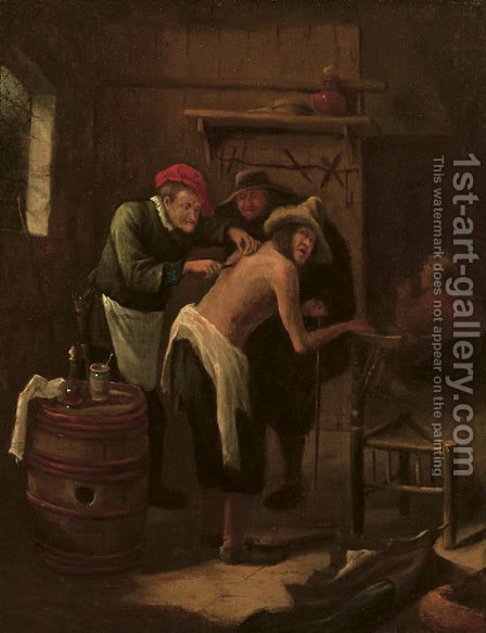 A quack operating on a peasant's back in an interior by (after) Jan Steen - Reproduction Oil Painting